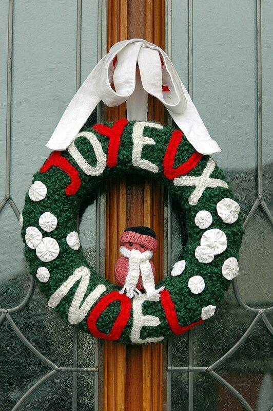 Couronne de porte en laine joyeux noel bonhomme de neige récup