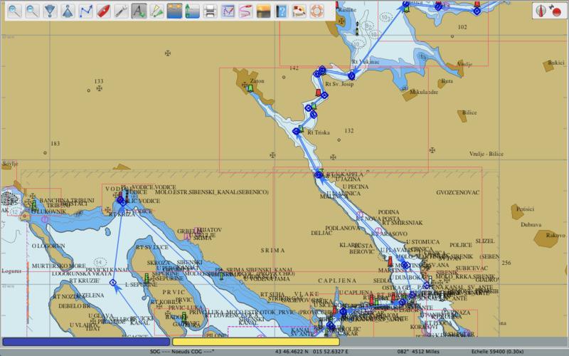 De Vodice à Skradink par la rivière Krk, détail carte OpenCPN
