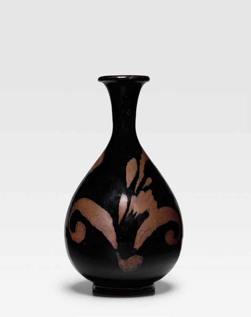 A fine Hetian black-glazed russet-painted bottle vase, Jin dynasty (1115-1234)