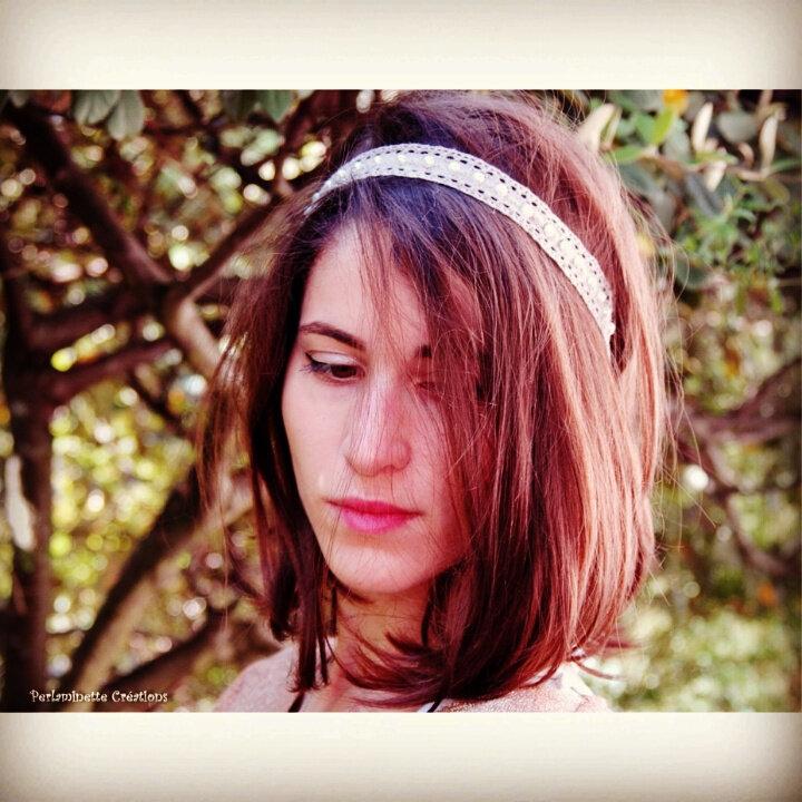 Headband, serre tête gris et blanc cassé pour mariage ou tous les jours