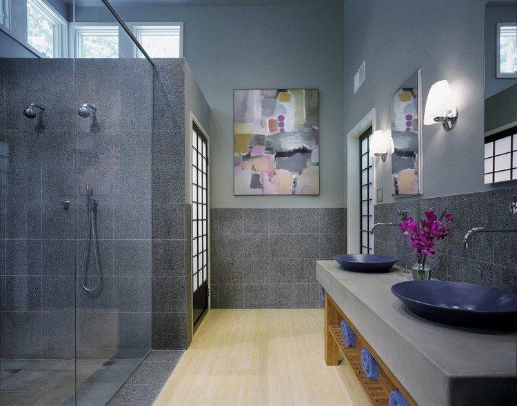 CHEZ DEAVITA tableau-salle-bain-abstrait-gris-touches-roses