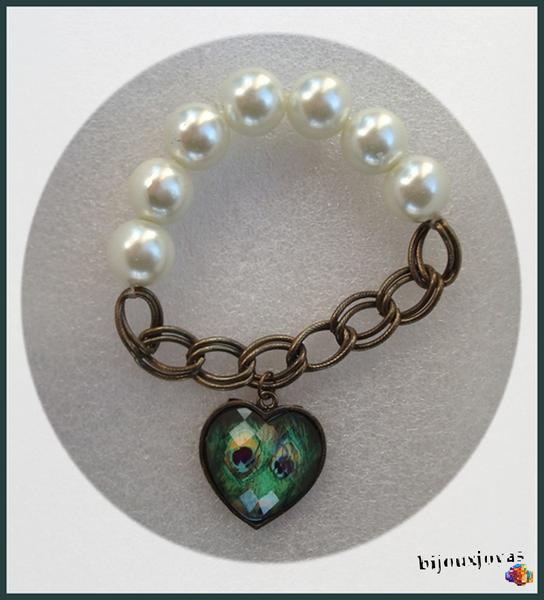 Bracelet Perles Nacrées Coeur Motif Paon Mailles Couleur Bronze Elastique