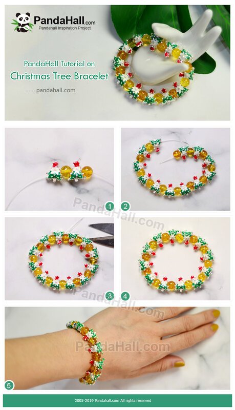 4-PandaHall Tutorial on Christmas Tree Bracelet