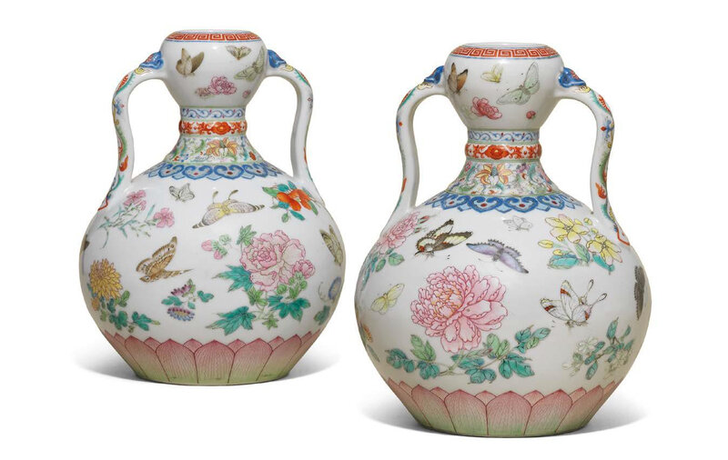 A Magnificent Pair Of Famille Rose Butterfly Double Gourd Vases