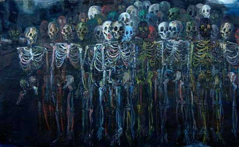 son Schulnik, What Awaits You, 2006, oil on canvas, 84 x 136 inches
