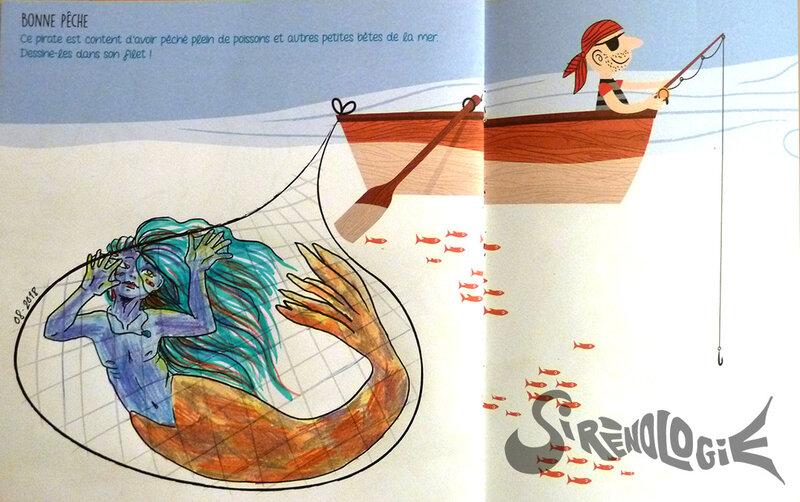 imagine dessine et colorie la mer et ses pirates - jeune triton dans un filet de pêche - en couleur