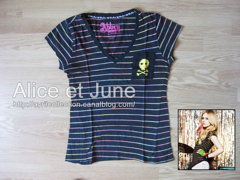 Abbey Dawn Striped Skull & Crossbones Tee