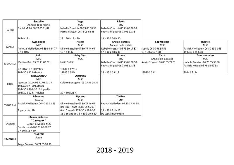 Planning et responsables des activites 2018 2019-1