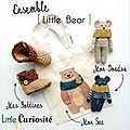 Ensemble bébé Naissance - Doudou [ Little Ours ] + Bottines Crochet + Tote Bag - Kidsroom - Handmade in France - ©LittleCuriosité