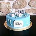 Gâteau baby shower garçon thème mickey & cupcakes assortis