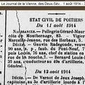 Bernard louis (pouligny saint pierre) + 10/08/1914 poitiers (86)
