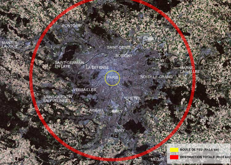 Destruction radius of Tsar Bomba superimposed on Paris