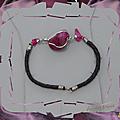 Bracelet ethnique ofelia pierre semi précieuse agate rose foncé cuir tressé noir argent d'alpaca du pérou