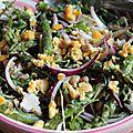 Salade de pois chiches, asperges vertes, roquette et oignon violet