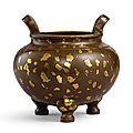 A gold-splashed bronze globular incense burner, qing dynasty, 18th century