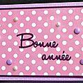 Carte de voeux féminine et romantique avec imprimé rose à pois et perles nacrées