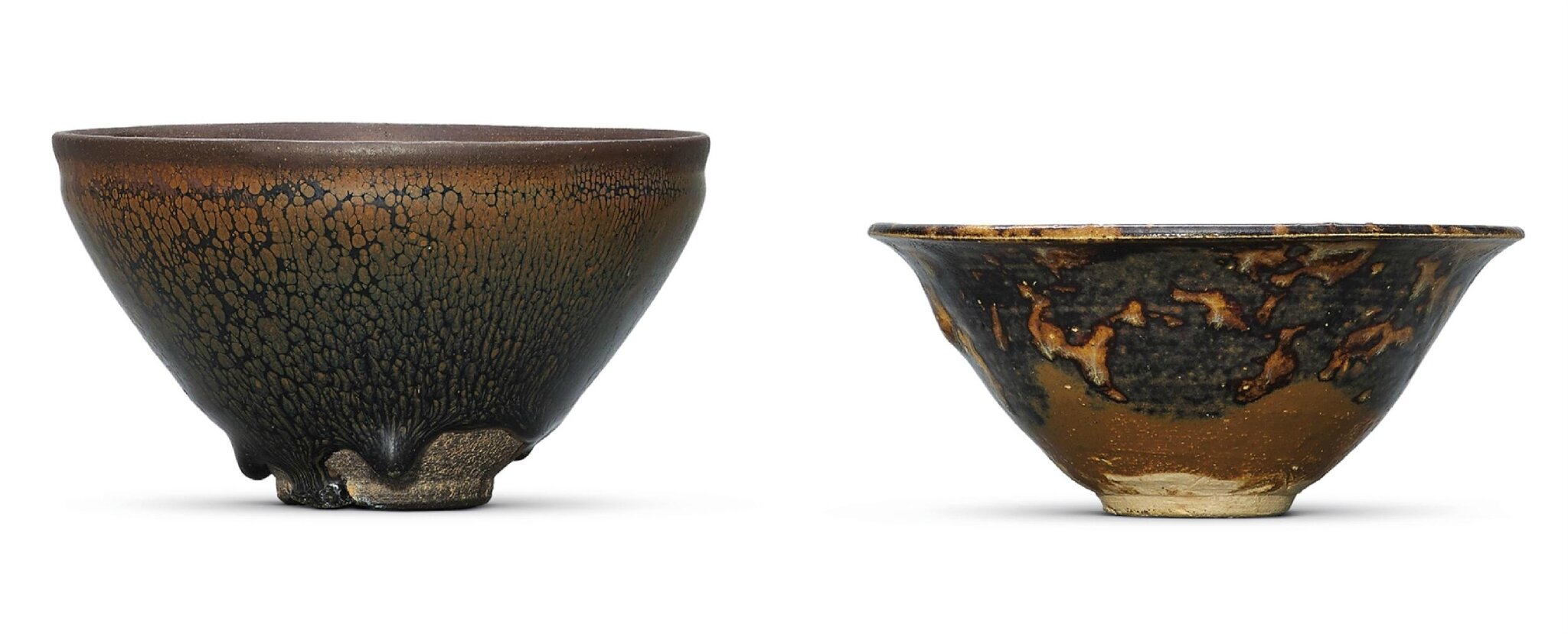 A Jian 'oil spot' black-glazed tea bowl and a Jizhou tortoise shell-glazed tea bowl, Southern Song dynasty (1127-1279)