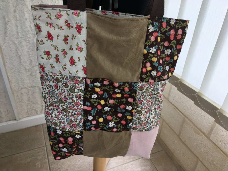 tote bag reversible patchwork tons brun rose modele funky sunday 3