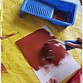 Automne : l'écureuil en peinture marbrée