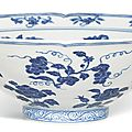 A fine and rare blue and white lobed 'fruit and flower' bowl, mark and period of xuande (1426-1435)