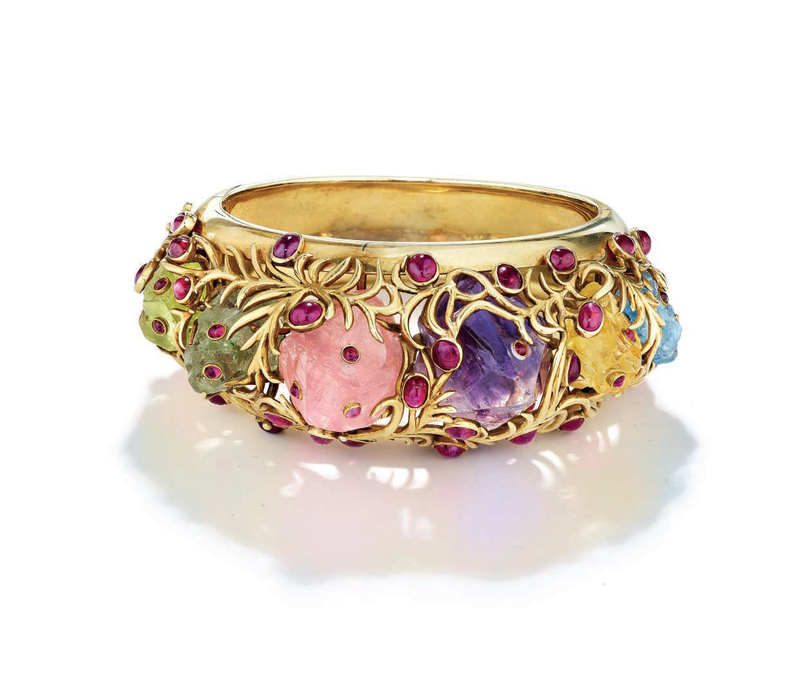 862826d02 A Rare Multi-Gem and Gold Bangle Bracelet by Jean Schlumberger. Estimate  $30,000-50,000. Price Realized: $81,250. © Christie's Images Ltd 2019.