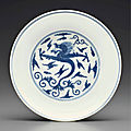 A blue and white 'dragon' dish, jiaqing seal mark in underglaze blue and of the period (1796-1820)