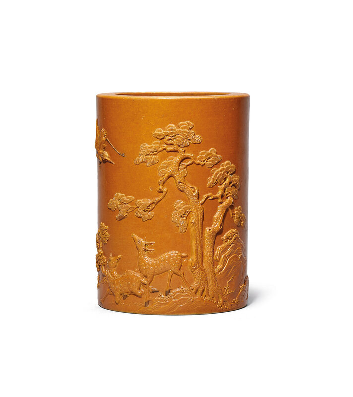 2019_HGK_16695_0053_000(a_carved_yellow-enamelled_deer_and_crane_brushpot_daoguang_period)
