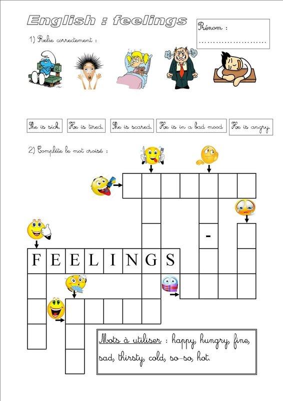 évaluation anglais feelings