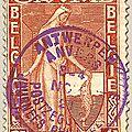 Première série d'Orval, au profit du Fonds de reconstruction de l'abbaye Duchesse Mathilde rouge avec surcharge violette 3F + 1F