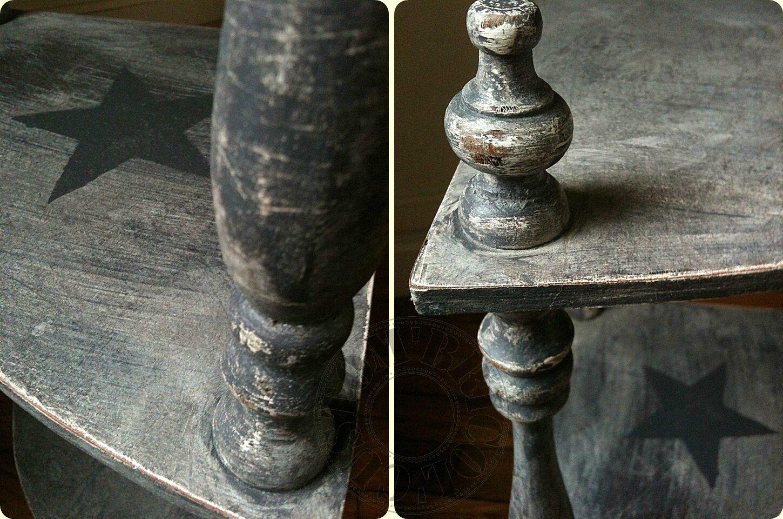 Etagère angle grise - détails
