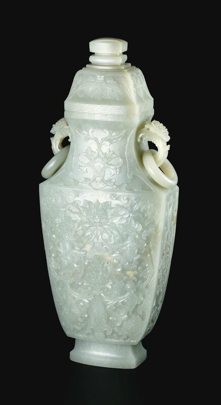 A Mughal-Style Pale Celadon Jade 'Lotus' Vase and Cover Qing Dynasty, 18th Century