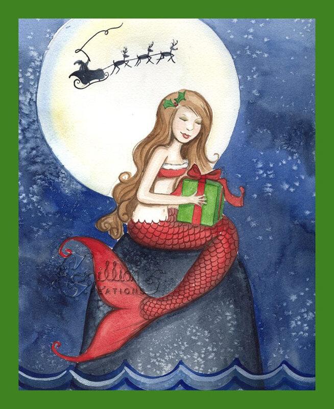 Camille Grimshaw - sirène de Noël avec cadeau - Christmas mermaid with gift