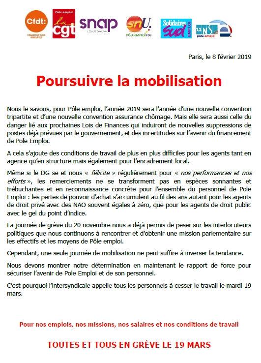 Suppressions de Postes, Conditions de Travail, Service aux DE, Salaires..! On poursuit la MOBILISATION le 19 MARS !
