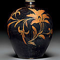 A very rare large cizhou-type russet-painted black-ground ovoid jar,xiaokou ping, china, jin-yuan dynasty, 13th century