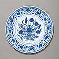A fine blue and white 'lotus bouquet' dish, yongzheng mark and period (1723-1735)