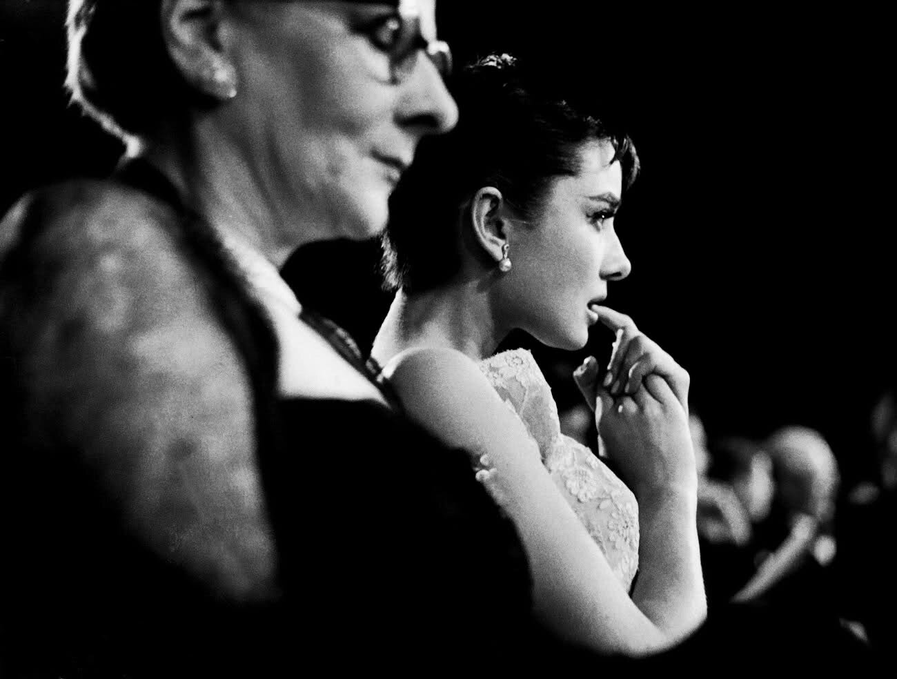 Audrey Hepburn and her mother at the 1954 Oscars