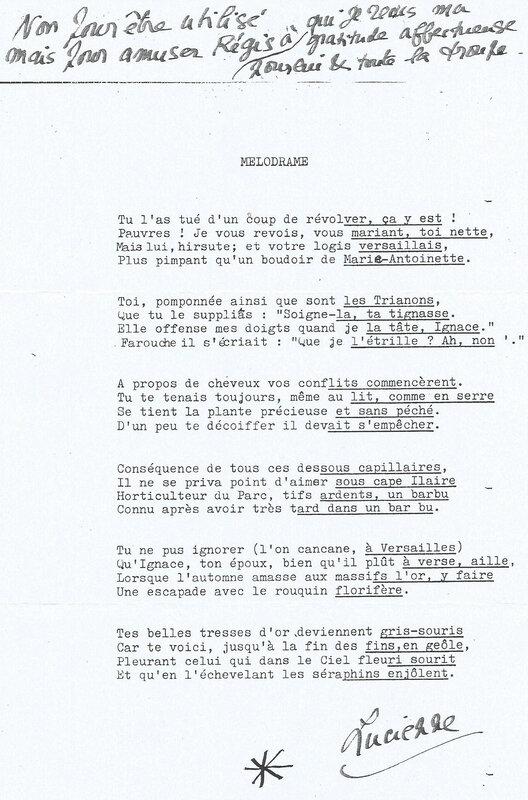 Poème de Lucienne offert à Régis Dejasmin