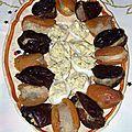Abricots secs et pruneaux farcis au foie gras, oeufs de caille farcis au tartex, sans gluten, sans lait