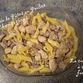 Poëlée de pâtes au poulet et aux champignons