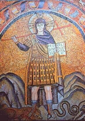 Christ écrase la tête du serpent et un lion, Ravenne, VIe s