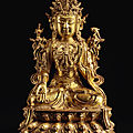 A large gilt-lacquer bronze figure of avalokiteshvara, ming dynasty, 15th-16th century