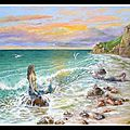 Sirènes se reposant au soleil couchant
