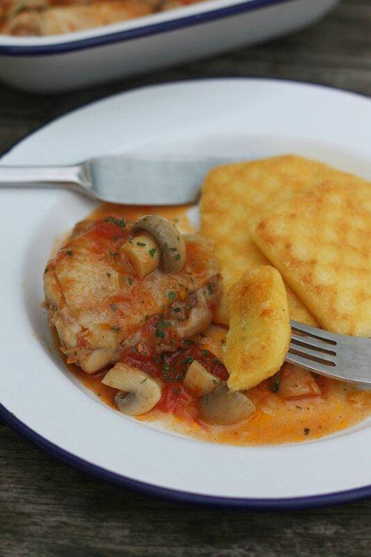 polenta et poulet aux champignons blog chez requia cuisine et confidences
