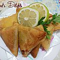 Bricks/samosas au thon, pommes de terre et petits pois