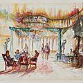 Casino de salies de béarn (l'entrée) aquarelle, 100x81cm papier arches 600g grain torchon