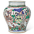 A rare wucai 'eight immortals' jar, qing dynasty, shunzhi period (1644-1661)