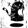 Black Flying Cat Ghost (negatif)