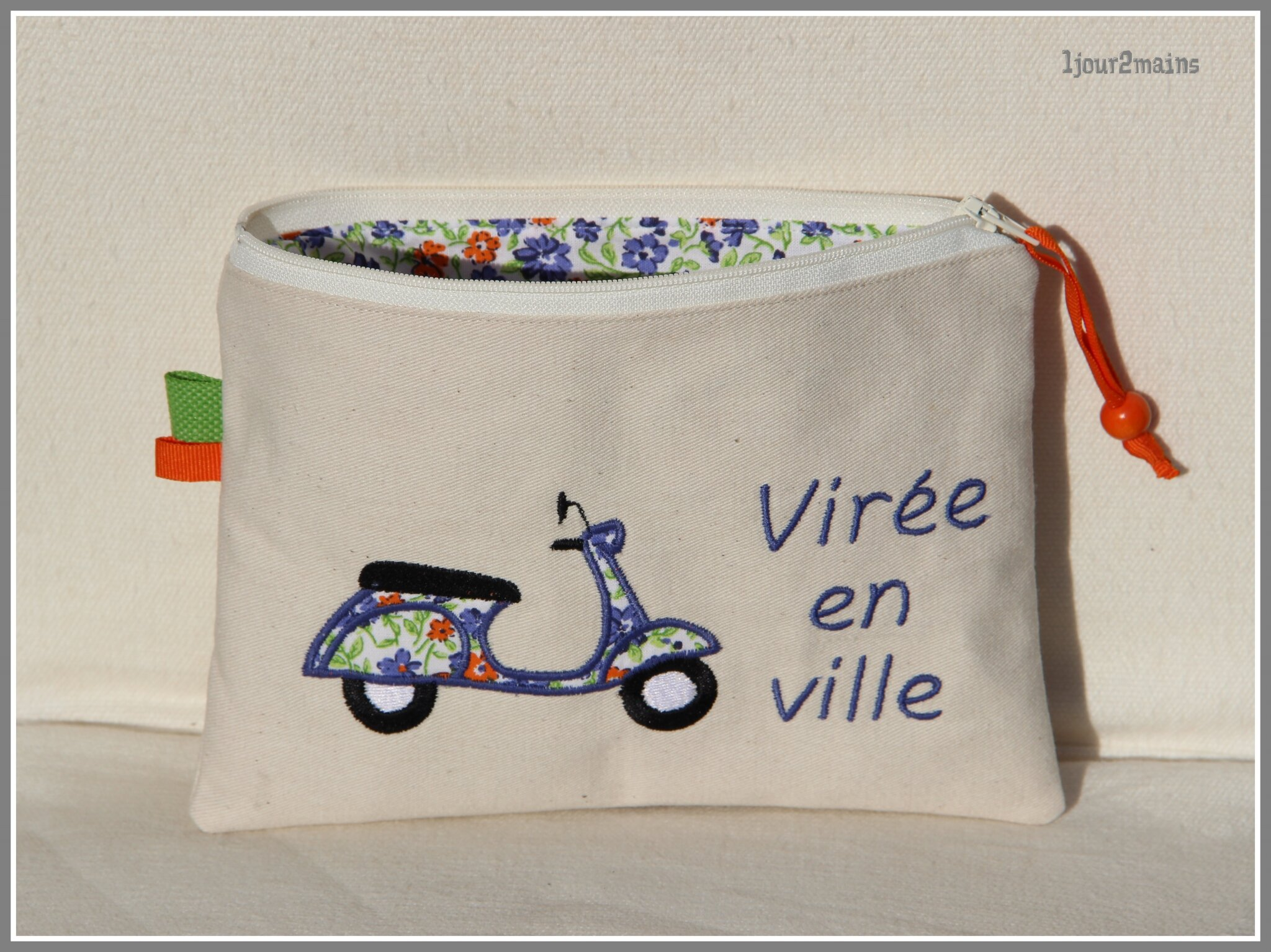 trousse scooter bleu orange