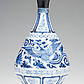 A blue and white pear-shaped bottle, yuhuchunping, yuan dynasty (1279-1368)
