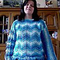 Mon pull granny turquoise terminé